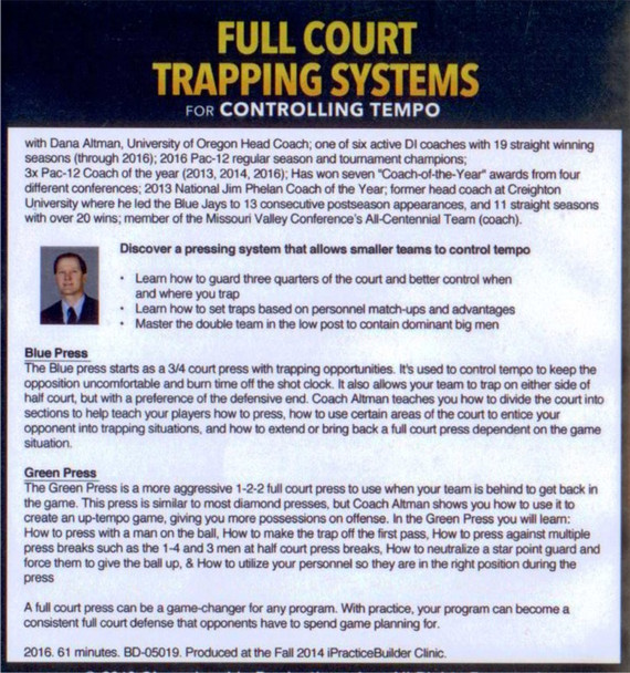 Full Court Trapping Systems For Controlling Tempo DVD