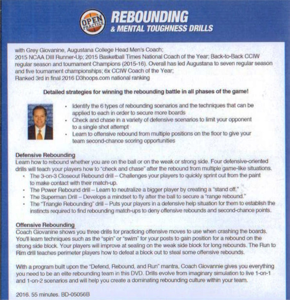 Mental toughness drills and rebounding drill for basketball