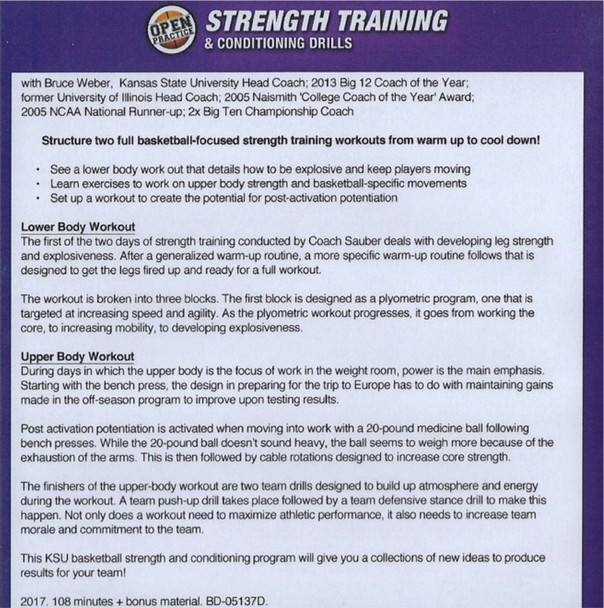Strength Training & Conditioning Drills Kansas State Bruce Weber