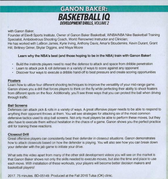 Ganon Baker Basketball IQ Development Drills Vol. 2