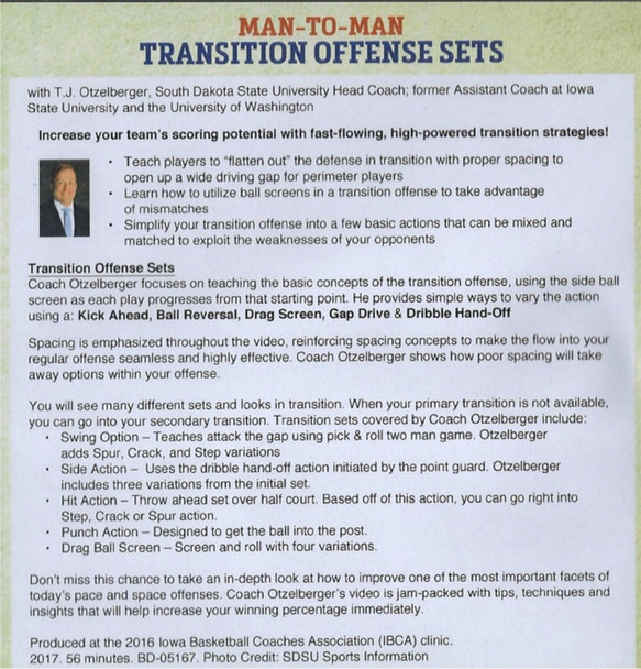 Transition Offense Plays Sets