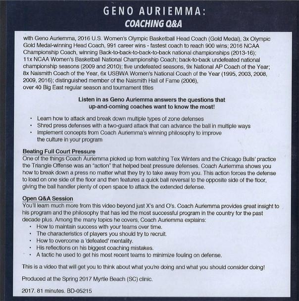 (Rental)-Geno Auriemma Coaching Q & A