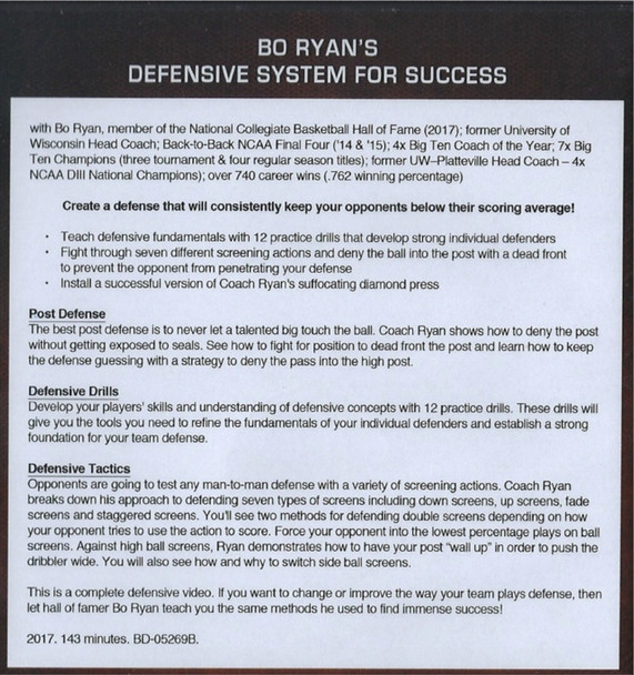 Bo Ryan's Defensive System  for basketball