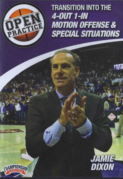 Transition Into The 4 Out 1 In Motion Offense & Special Situations by Jamie Dixon Instructional Basketball Coaching Video