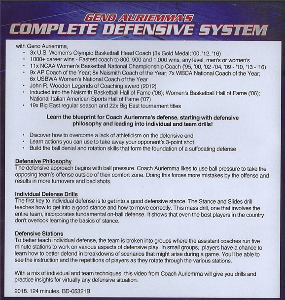 (Rental)-Geno Auriemma's Complete Defensive System
