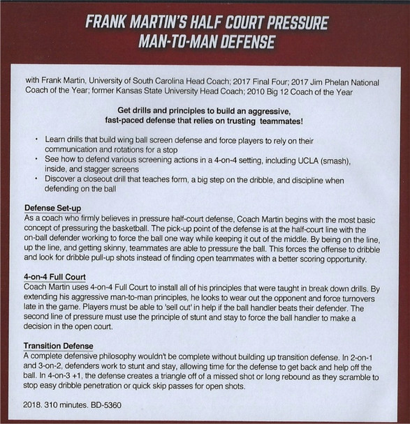 man to man defense drills with Frank Martin