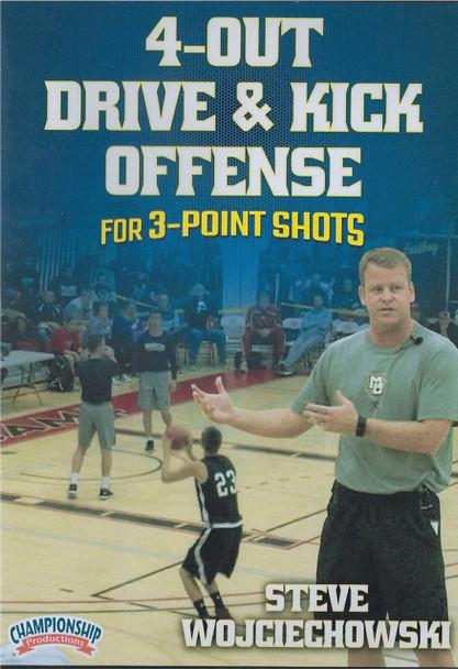 4 Out Drive & Kick Offense For 3 Point Shots by Steve Wojciechowski Instructional Basketball Coaching Video