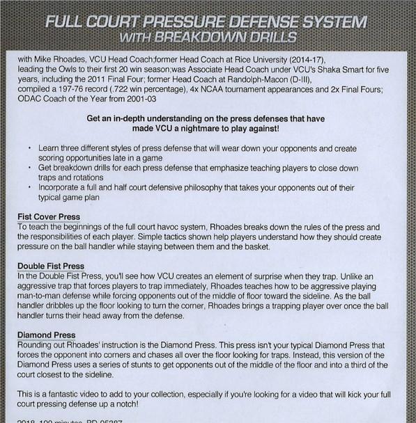 (Rental)-Full Court Pressure Defense System With  Breakdown Drills
