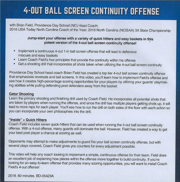 (Rental)-4 Out Ball Screen Continuity Offense