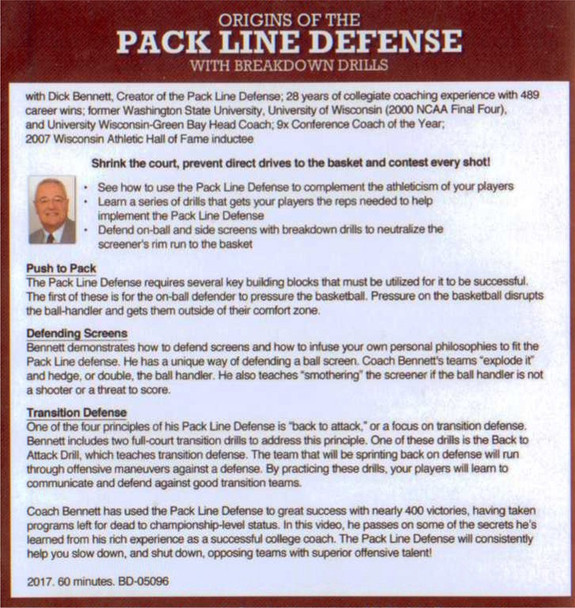 pack line defense drills with Dick Bennett