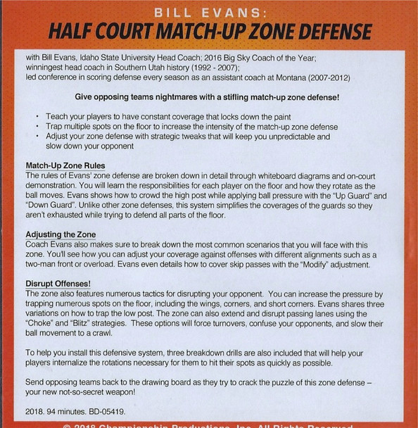 Half Court Match Up Zone Defense Rules and Adjustments
