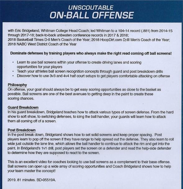 on ball screen offense Eric Bridgeland