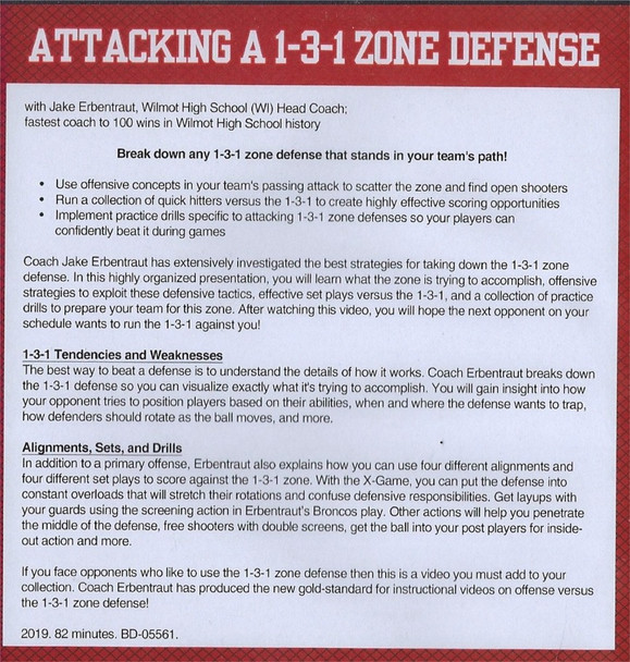 Attacking a 1-3-1 Zone Defense  Video DVD