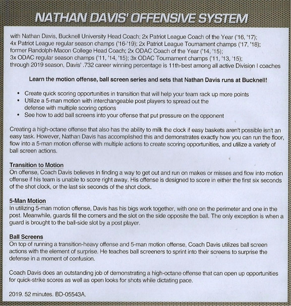 Nathan Davis' Basketball Offensive System 5 Out Motion & Ball Screens Video