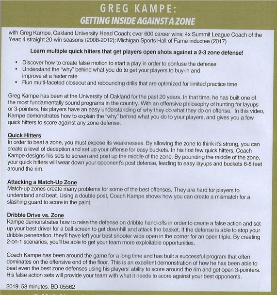 How to Score Against a Zone Defense DVD by Greg Kampe