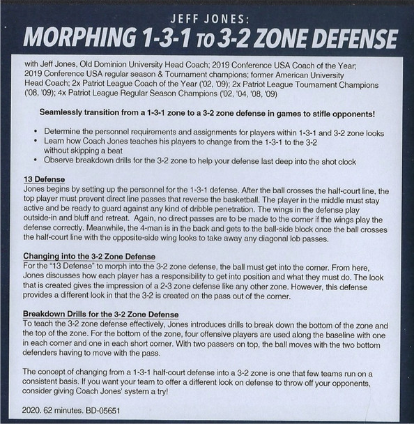 1-3-1 Zone Defense to a 3-2 Zone Defense Basketball