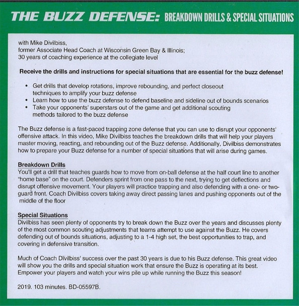 (Rental)-Buzz Defense Breakdown Drills & Special Situations