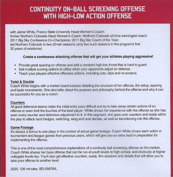 (Rental)-Continuity On Ball Screening Offense with High Low ActionOffense