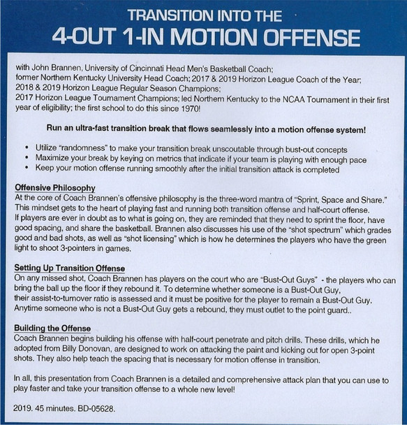 (Rental)-Transition Into the 4 Out 1 In Motion Offense