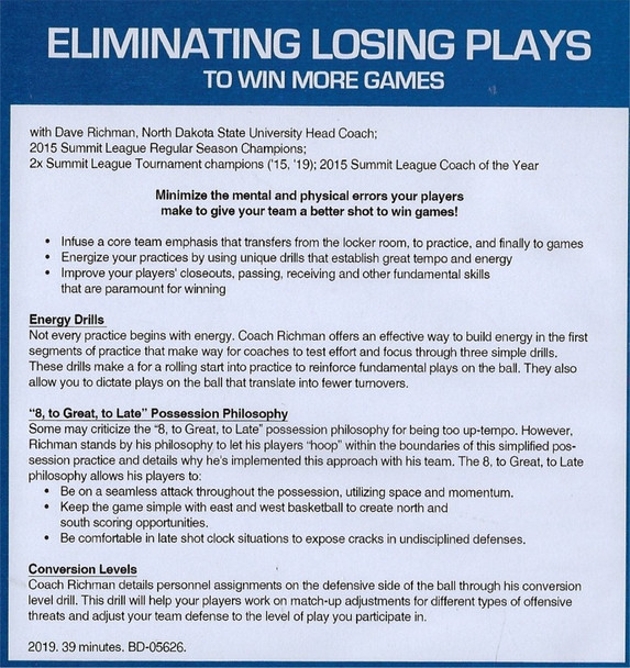 (Rental)-Eliminating Losing Plays to Win More Basketball Games