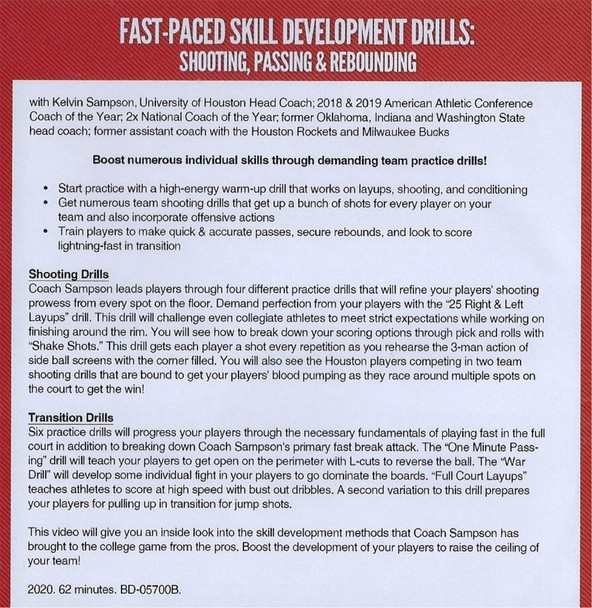 (Rental)-Fast Paced Basketball Skill Development Drills: Shooting, Passing, &Rebounding