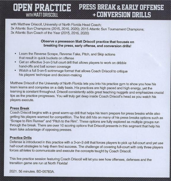 (Rental)-Press Break & Early Offense, & Conversion Drills