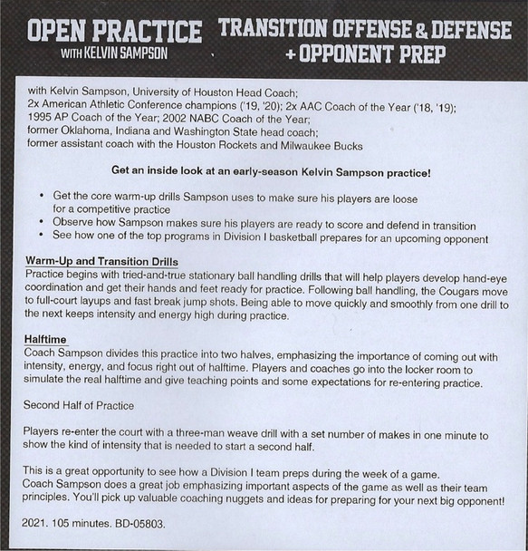 (Rental)-Transition Offense & Defense w/ Opponent Prep