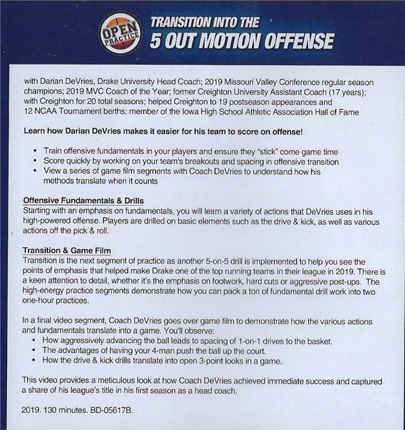 (Rental)-Transition Offense Into the 5 Out Motion Offense
