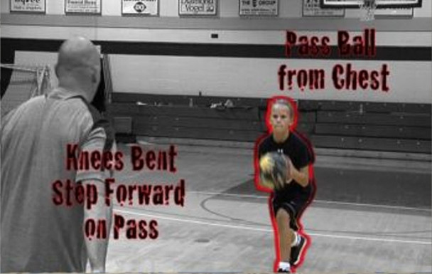 Passing drills for youth beginning basketball players.