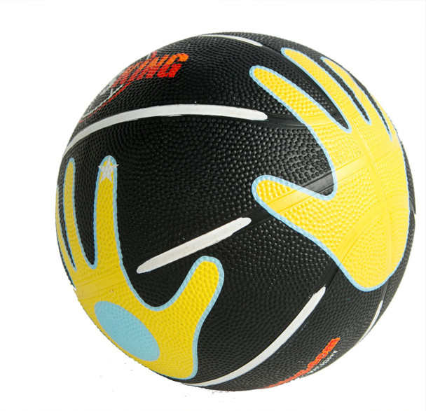 Basketball with hands printed on it.
