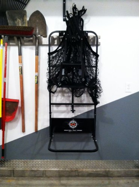 Store the IC3 Basketball Rebounder on a wall in your garage.