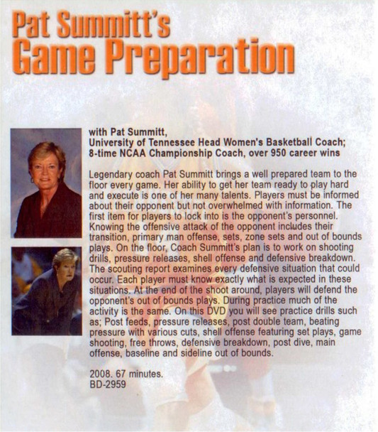 (Rental)-Pat Summitt's Game Preparation