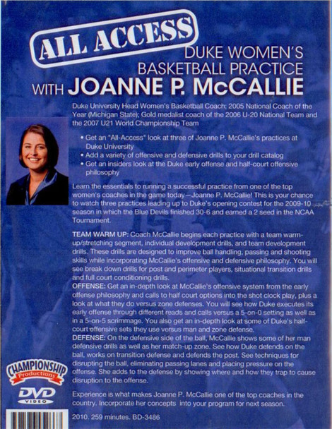 basketball practice plan with Joanne McCallie Women Duke
