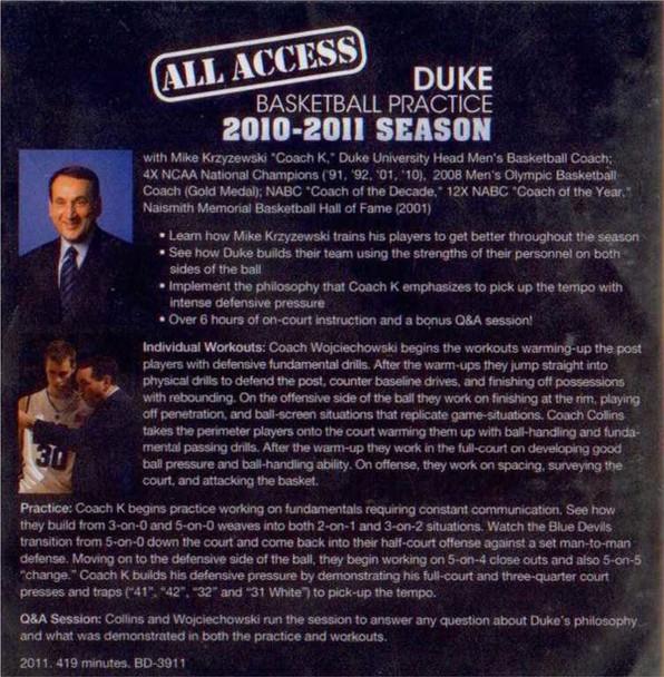 (Rental)-All Access Duke Basketball Practice (2010-11)