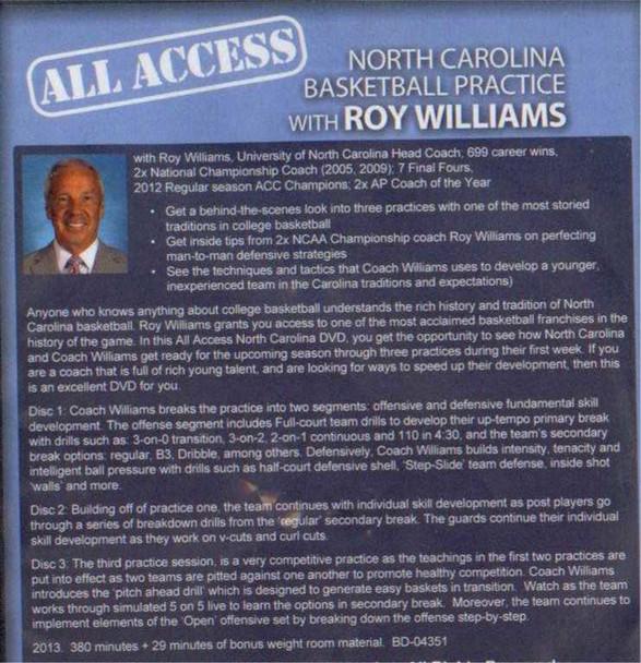 Roy Williams basketball practice plan