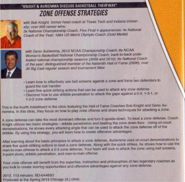 Zone Offense strategies Bob Knight Geno Auriemma