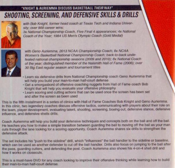 Geno Auriemma Basketball Drills for Shooting, Screening, and Defense
