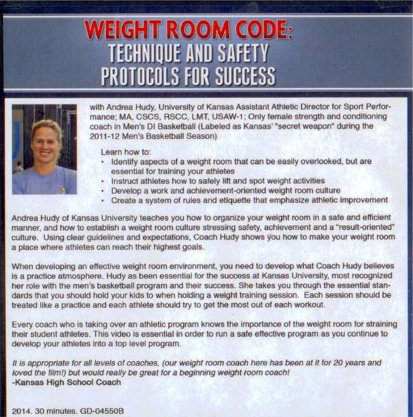 Weight room safety code protocols