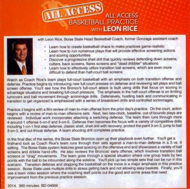 Leon Rice basketball practice plan template drills tips