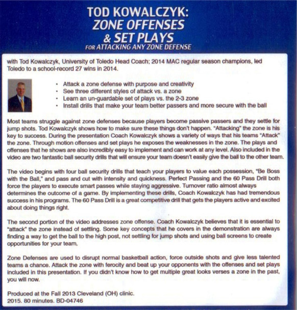 Zone Offenses & Set Plays vs Zone Defense - Tod Kowalczyk