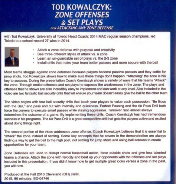 Zone Offenses & Set Plays vs Zone Defense - Tod Kowalczyk