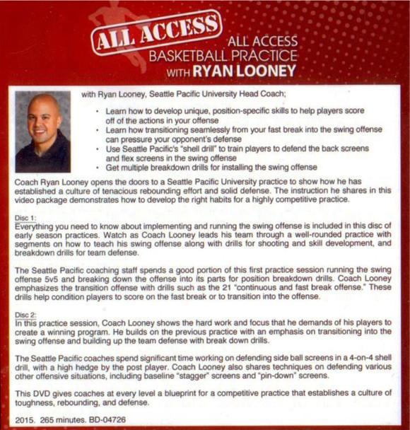 Ryan Looney basketball practice template plan video DVD