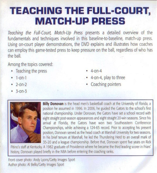(Rental)-Teaching Full Court Match Up Press