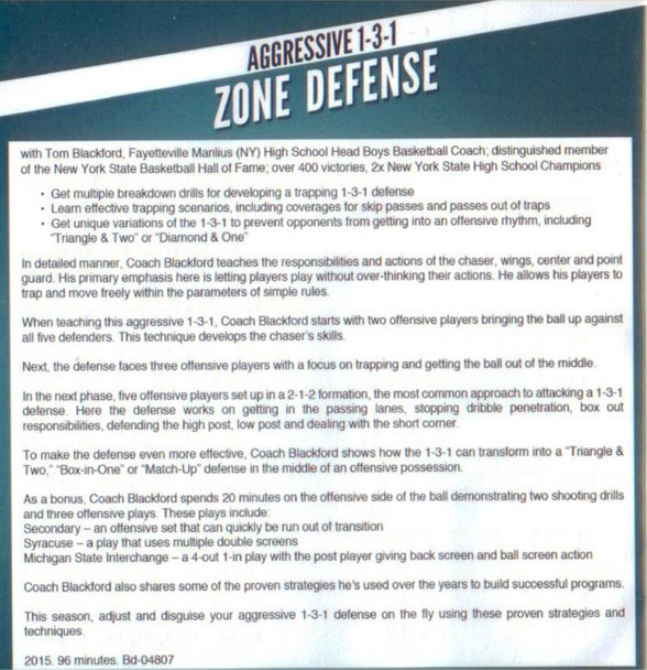 (Rental)-Aggressive 1-3-1 Zone Defense