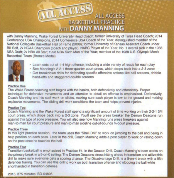 Danny Manning Basketball practice drills and video