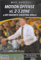 Motion Offense vs 2-3 Zone & Shooting Drills by Mike Rhoades Instructional Basketball Coaching Video