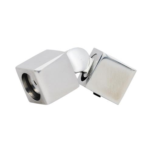 "Square Zip Hinged Corner Polished Aluminum 1"" Scale"