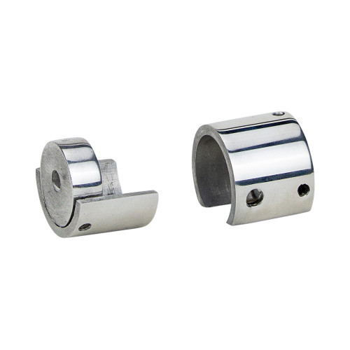 "Cafe Zip Bracket Polished Aluminum 1"" Scale"
