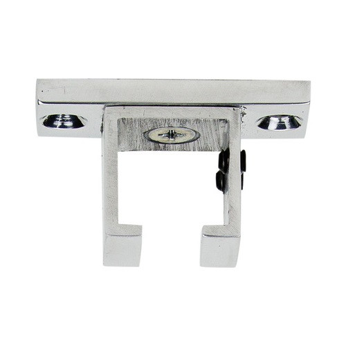 "Square Ceiling Zip Bracket Polished Aluminum 1"" Scale"