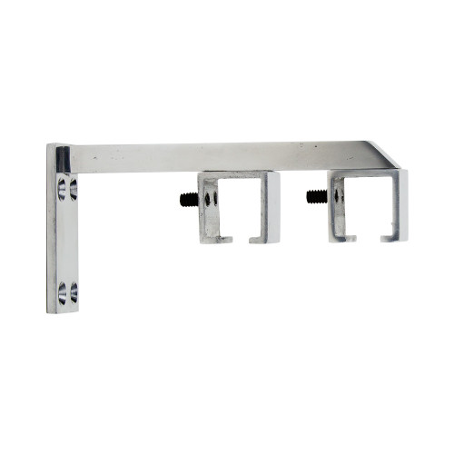 "Square Double Zip Bracket Polished Aluminum 1"" Scale"